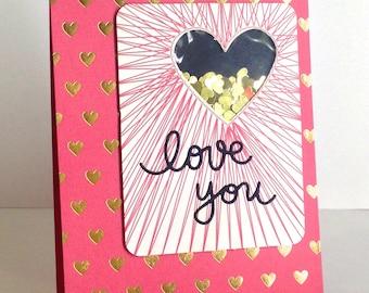 Love you golden hearts card (shaker card)
