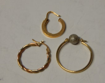 Three different single 14k-18k GOLD Hoop Earrings: for those with many piercings