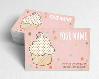Bakery business card etsy business cards custom business cards personalized business cards business card template modern business cards cupcake business card a5 wajeb Images