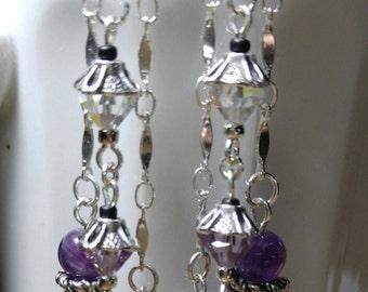 Purple Amethyst & Swarovski Crystal post earrings