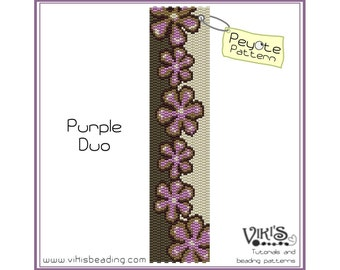 Peyote Bracelet Pattern: Purple Duo - INSTANT DOWNLOAD pdf -Discount codes are available