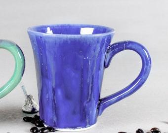 Nautical Blue Ceramic Coffee mug, pottery stoneware cup Handmade stylish Minimalist Cobalt nature sea kitchen gift Tea cup