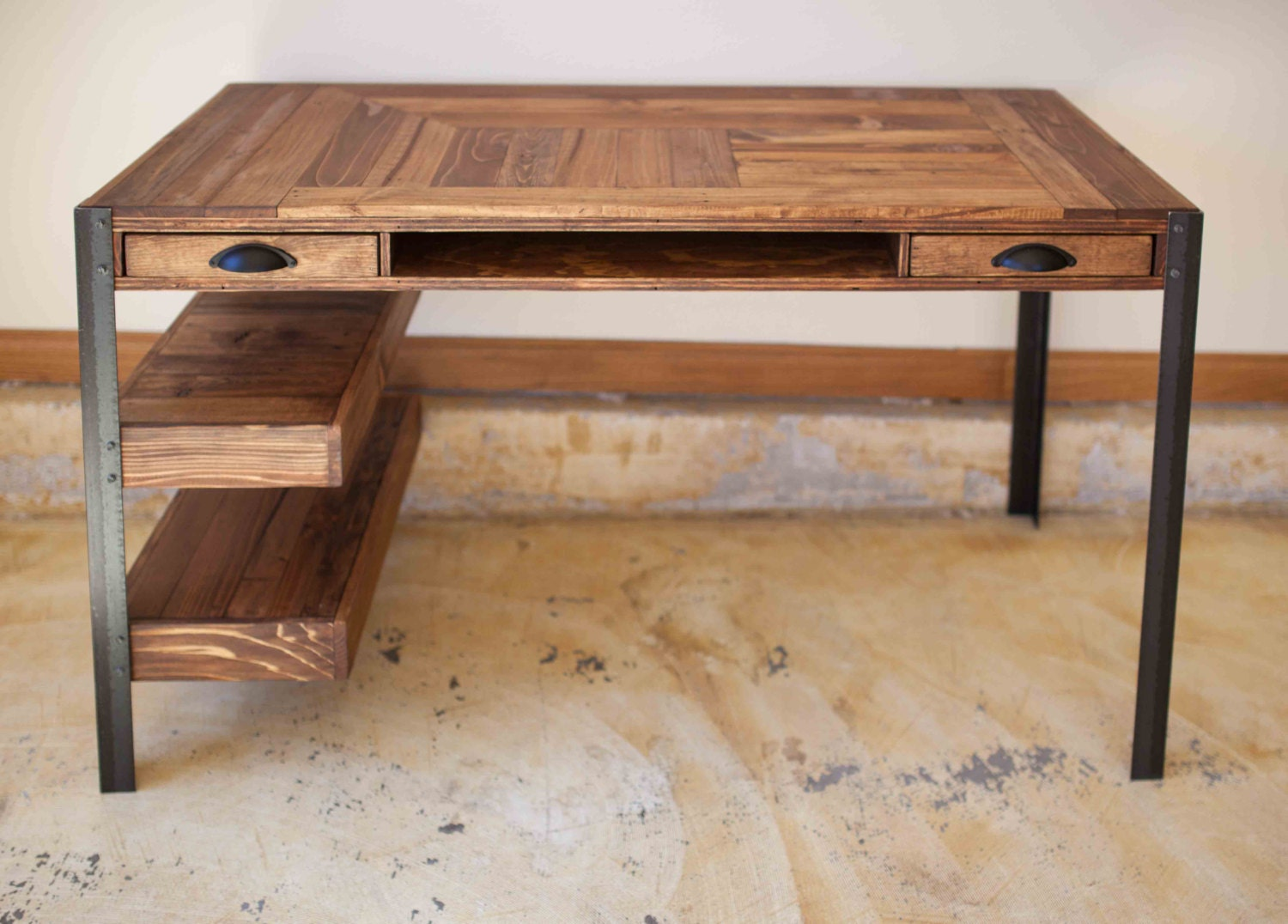 Pallet Wood Desk with 2 Drawers Center Shelf and 2 Lower