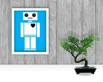 Robot Digital Art Print - Blue