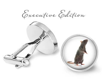 Rat Cufflinks - Rat Cuff Links - Rodent Cufflink - Pet Rat Cufflink (Pair) Lifetime Guarantee (S0108)