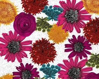 MAKERS HOME Natalie Barnes Fabric, Magenta Floral, Windham, Cotton, Quilt, Woodland, Shabby Chic, Modern Farmhouse, Fabric By the Yard