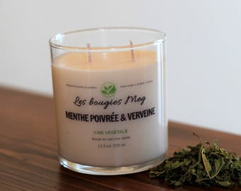 Peppermint and Verbena (lemongrass), candle Soy Candle is soy candle, candle, homemade, vegan, glass jar, peppermint