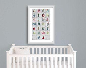 Nursery Print, ABC Art Print, Alphabet Print, Children's Wall Art, Nursery Art, Boy Nursery, Girl Nursery, Alphabet Letters