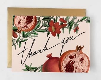 Pomegranate Card // Hand Lettered Thank You // Thank you Card Set // Thanks Card  // Wedding Thank You // Thanks Friend Card for Her
