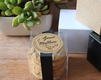 12 - Wedding Favor Boxes - Jenna Label Design   Personalized Favor Box   Cookie wedding favor   square favor box   ANY OCCASION