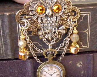 Steampunk Owl Brooch (P601) - Faux Brass Pocket Watch Pendant - Crystal Dangles and Silver Chain - Pin