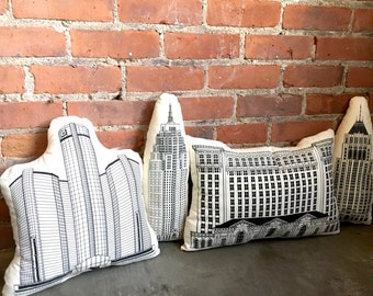 Illustrated Detroit Building Pillows