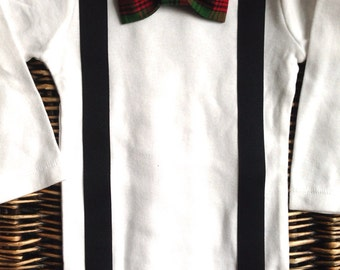 Baby Boy Clothes - Boys Christmas Outfit  - First Christmas Outfit - Baby Bow Tie - Suspenders Bodysuit - Red Green Plaid Bow Tie