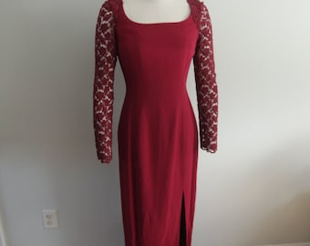 Red Floor Length Evening Gown With Lace Sleeves