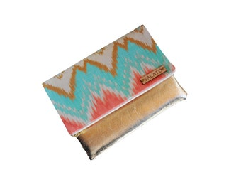 Gold Water Colored Print clutch, leather clutch, leather fold over clutch, diamond clutch,