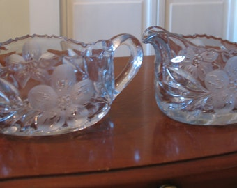 Sugar Bowl & Creamer glass Circa 1950, glass, vintage sugar bowl Creamer