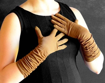 Vintage Evening Gloves in Brown with Ruched Detailing - Size 6-7 - 100% Nylon Exclusive of Decoration 6-7, Made in USA