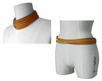 Mano Bello leather wrap belt, 6 Wrap choker, Leather Wrap Necklace, Honey Tan, Leather Skinny Scarf, Men, Women, Wrapping belt, Narrow belt