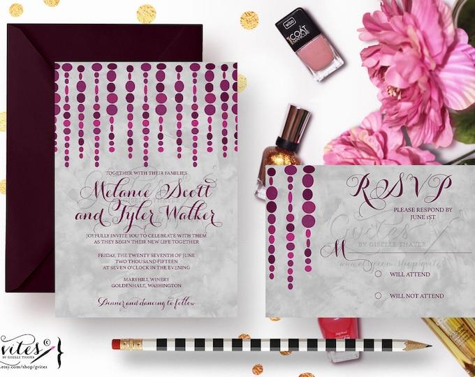 Purple and silver wedding invitations, eggplant invites, modern wedding, watercolor and plum, burgundy invites, garland invites.
