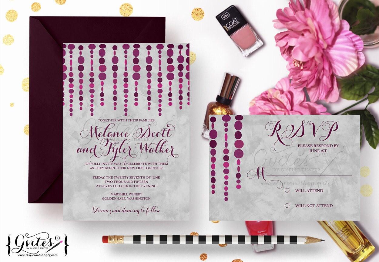 Purple and silver wedding invitations, eggplant invites, modern ...