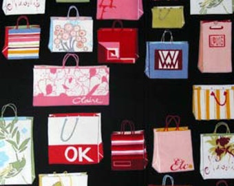 Shopping Bags/Bage print by Alexander Henry - 100% cotton fabric yardage - OOP - quilting
