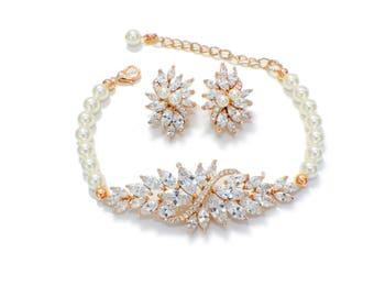 Pearl bracelet set, Gold bridal earrings bracelet set, pearl jewelry set, wedding jewelry set, bridal jewelry set, Art Deco jewelry set
