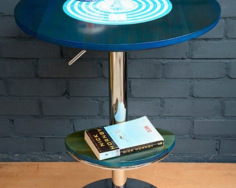 Reclaimed wood, two-tier table, made from up-cycled materials, the SPACE CADET. It also rotates & is height adjustable!