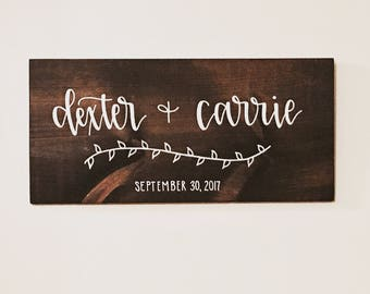 Custom Wedding Sign - Names Sign - Couples Sign - Anniversary Sign - Wooden Sign - Rustic Decor