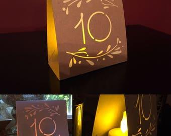 RUSTIC TABLE NUMBERS Vine • Luminaries • Wedding  • Table Number Luminaries