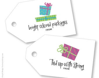 Bright Colored Packages - Tied Up With String. Holiday/Christmas Large Gift Tags. Can be Personalized. Printable Download.