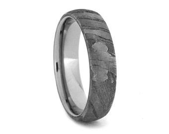 Titanium Ring with Seymchan Meteorite Overlay, Meteorite Wedding Band