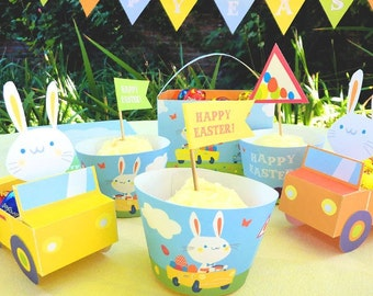 Easter Bunnies in Cars printable party kit. Instantly download PDF templates/patterns. Easy to assemble & make! by Happythought.