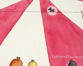 Watercolor Balloon Animal on a High Wire Art Print