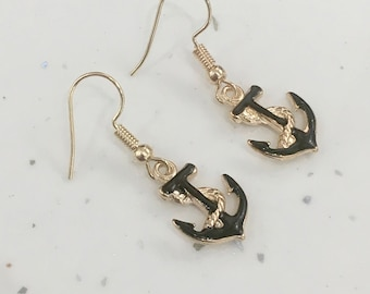 Black & Gold  Anchor Hook/Dangly Earrings