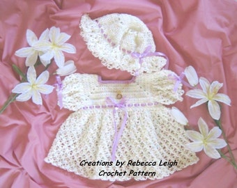 """Crochet Pattern for """"Tammy"""" Baby Dress and Booties"""