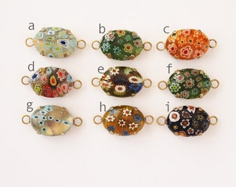 1 Glass Millefiori Oval Double Loop Connector Select Colour Metal Raw Brass  Size 18x13mm