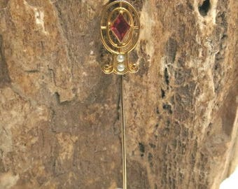 antique red stone stick pin / sea pearl stick pin with red stone/ 10k gold stick pin /