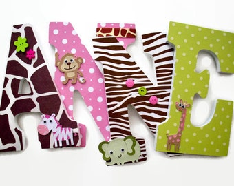 Jungle Nursery Letters - Jungle Jill Wood Letters - Girls Safari Letters