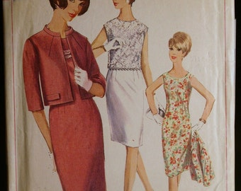 Vintage 60s Misses Dress Jacket and Overblouse Pattern  Simplicity 6402 Sz 14