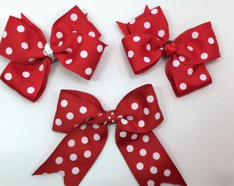 Red Dot Boutique Hair Bows, Hair Bows For Girls, Hair Clips, Girls Hair Bows,#HB-46, 47, 49