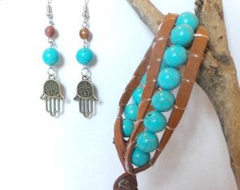 Set Leather bracelet with earrings