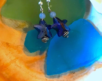 Blue Glass Starfish Beaded Earrings