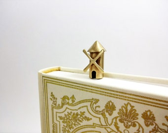 Metal bookmark with a windmill. Gift ideas. Gift for book lovers. Bronze art