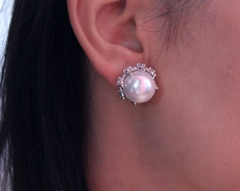 Pearl in the Crown 925 Silver earrings. Natural silver earrings for women or girl