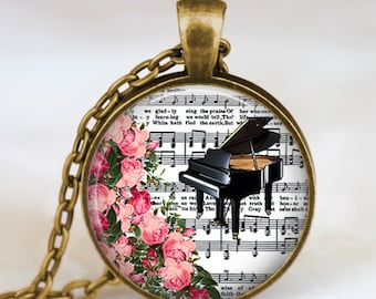 Piano necklace , vintage piano music notes jewelry , piano pendant ,  music necklace, handmade jewelry,piano lover gift,piano teacher gift