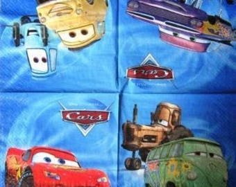 TOWEL in paper boats, Cars, #E023 blue background