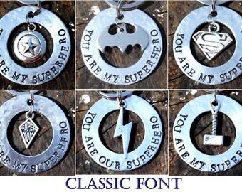 Last Minute Gifts, You Are My Superhero Keychain, Super Mom Keychain, Valentines Gift, Batman Superman Captain America Flash Thor Super Hero