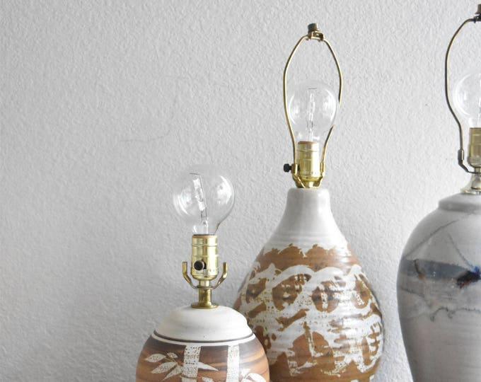 bamboo flower ceramic stoneware pottery brown lamp