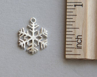 925 Sterling Silver Charm, Snow flake Charm, Snowflake Charm, Sterling Silver Christmas Snowflake Charm, Snow Charm, 14 x 17mm ( 1 piece )