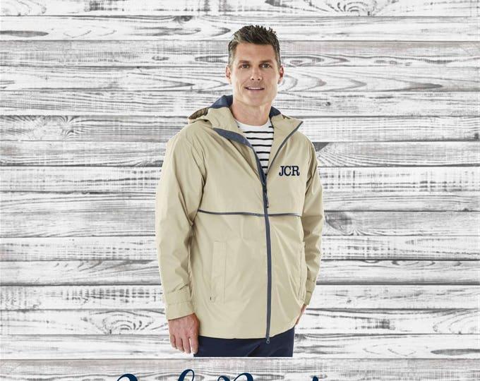 Men's Monogram Rain Jacket - Monogrammed Rain Coat - Monogrammed gifts - Groomsmen Gifts -  Men's New Englander Rain Jacket